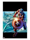 Captain America: Man out of Time No.2 Cover: Captain America Running Art by Bryan Hitch