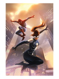 Spider-Girl 8 Cover: Spider-Girl and Spider-Man Jumping Posters par Jelena Djurdjevic