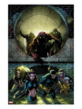 X-Men Forever 2 5 Cover: Sabretooth, Kitty Pryde, Cyclops, Storm, and Gambit Walking Prints by Tom Grummett
