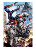 Ultimate Fallout No.3: Spider-Man, Swinging and Smashing Print by Steve Kurth