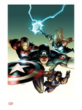 Ultimate Avengers vs. New Ultimates No.2 Cover: Captain America, Iron Man, Thor, and Hawkeye Flying Prints by Leinil Francis Yu