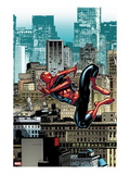 The Amazing Spider-Man No.666: Spider-Man Swinging Through City Buildings Art by Stefano Caselli