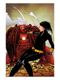 Black Widow 8 Cover: Black Widow and Crimson Dynamo Fighting Posters by Travel Foreman