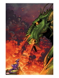 Avengers vs. Pet Avengers 2 Cover: Fin Fang Foom and Lockheed Flaming Posters by Ig Guara