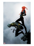 Widowmaker 2 Cover: Black Widow Holding Another By a Rope Art by Jae Lee