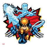 Marvel Super Hero Squad Badge: Iceman and Wolverine Posing Art