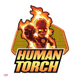 Marvel Super Hero Squad Badge: Human Torch Flaming Prints