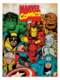 Marvel Comics Retro: Hulk, Thor, Spider-Man, Wolverine, Captain America, Iron Man and Silver Surfer Affiches