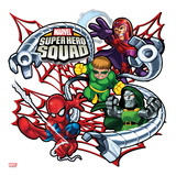 Marvel Super Hero Squad Badge: Spider-Man, Magneto, Doctor Octopus, and Dr. Doom Posing Poster