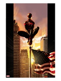 Ultimate Comics Spider-Man 7 Cover: Spider-Man Sitting on Top of a Flag Pole in the City Art by Kaare Andrews