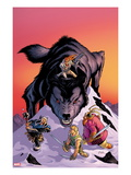 Warriors Three 4 Cover: Volstaag, Hogun and Fandral Fighting a Wolf in the Snow Prints by Amanda Conner