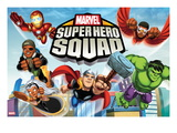 Marvel Super Hero Squad: Iron Man, Falcon, Nick Fury, Storm, Thor, and Hulk Flying Print
