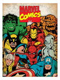 Marvel Comics Retro: Hulk, Thor, Spider-Man, Wolverine, Captain America, Iron Man, and Thing Posters