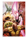 Thunderbolts 152 Cover: Luke Cage, Man-Thing, Songbird, Moonstone, Juggernaut, and Mark V Charging Posters by Greg Land