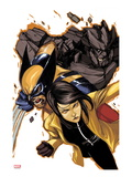 Wolverine and Jubilee No.4 Cover: Jubilee, Wolverine, and Rockslide Charging Art by Nimit Malavia