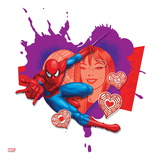 Spider Sense Spider-Man: Valentine, Hearts, Spider-Man and Mary Jane Watson Posing Pôsters