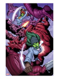 She-Hulks No.3: She-Hulk and Lyra Fighting Print by Ryan Stegman