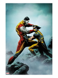 Wolverine 4 Cover: Wolverine and Colossus Fighting Prints by Jae Lee