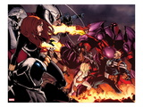 Onslaught Unleashed 1 Cover: Steve Rogers, Onslaught, Black Widow, and Moon Knight Fighting Prints by Humberto Ramos