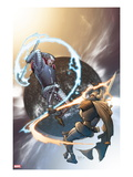 The Mighty Thor No.10 Cover: Tanarus and Heimdall Prints by Pasqual Ferry