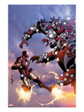 Invincible Iron Man No.514 Cover: Iron Man Fighting and Flying Posters by Salvador Larroca