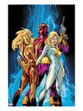 Thunderbolts 173 Cover: Baron Zemo and Moonstone Print by Mark Bagley
