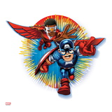 Marvel Super Hero Squad Badge: Captain America and Falcon Charging Prints