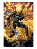 Ghost Rider No.9: Ghost Rider Posing With Chains and Weapon Print by Emanuela Lupacchino