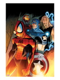 Ultimate Spider-Man #151 Cover: Spider-Man, Captain America, Thor, and Iron Man Standing Arte por David LaFuente