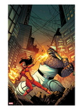 Spider-Island: Spider-Woman 1 Cover: Spider Woman and Thing Fighting in a City at Night Prints by Stefano Caselli