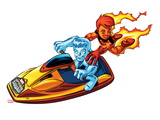 Marvel Super Hero Squad: Iceman and Human Torch Riding Jetski Posters
