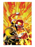 Shadowland: Power-Man No.4 Cover: Power Man and Iron Fist Fighting Prints by Mike Perkins