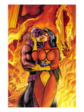 Avengers 17 Cover: Spider Woman and Hawkeye Hugging Prints by Alan Davis
