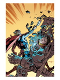 Thor The Mighty Avenger No.8 Cover: Thor and Iron Man Fighting Prints by Chris Samnee