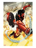 Scarlet Spider No.2: Scarlet Spider in Web and Flames Poster by Ryan Stegman