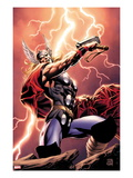 Thor: Wolves of The North No.1 Cover: Thor Standing with Mjonir in Lightning Affiches par Mike Perkins