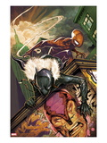 Klaws of The Panther 3 Cover: Black Panther and Spider-Man Crouching Prints by Mike Del Mundo