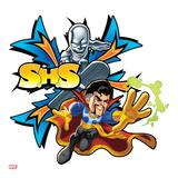 Marvel Super Hero Squad Badge: S.H.S. - Silver Surfer and Dr. Strange Running Print