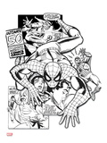 Spider-Man Badge: Retro Panels, Spider-Man Crawling Prints