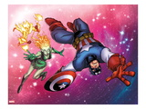 Captain America & The Korvac Saga No.2: Captain America ,Firelord, and Nikki in Space Art by Craig Rousseau