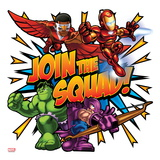 Marvel Super Hero Squad: Join the Squad! Falcon, Iron Man, Hulk, and Hawkeye Posing Print