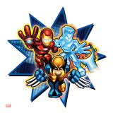 Marvel Super Hero Squad Badge: Iron Man, Iceman, and Wolverine Posing Art