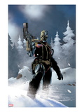 Uncanny X-Force 5: Deathlok Standing with a Gun in the Snow Prints by Esad Ribic