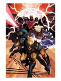 Origins of Marvel Comics: X-Men No.1 Cover: Wolverine, Storm, Cyclops, and Magneto Running Prints by Mike Del Mundo