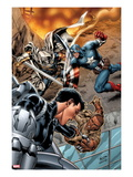 Battle Scars 2 Cover: Johnson, Daisy, Captain America, and Task Master in a Fight Prints by Carlo Pagulayan
