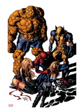New Avengers 13 Cover: Mockingbird, Wolverine, Ms. Marvel, Spider-Man, and Thing Prints by Mike Deodato Jr.