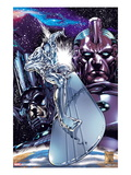 Silver Surfer No.1 Cover: Silver Surfing Riding his Silver Surf Board in Space Prints by Carlo Pagulayan