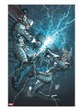 X-Men: To Serve and Protect 3 Cover: Storm and Thor Fighting Prints by Giuseppe Camuncoli