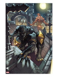 Black Panther: The Man Without Fear 513 Cover: Black Panther and Daredevil Crouching Posters by Simone Bianchi