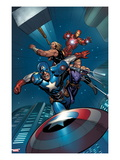 Ultimate New Ultimates 5: Captain America, Thor, Hawkeye, and Iron Man Flying and Throwing Prints by Frank Cho